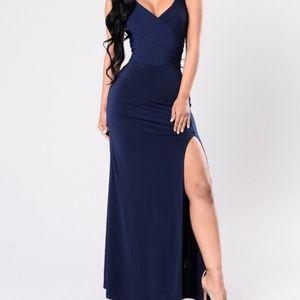 Long navy dress with leg slit